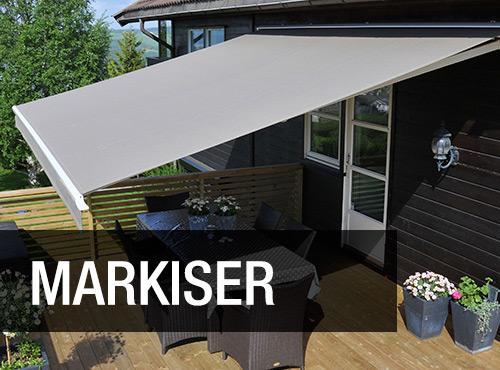 Vi har alt av markiser; vindusmarkiser, terrassemarkiser mm.