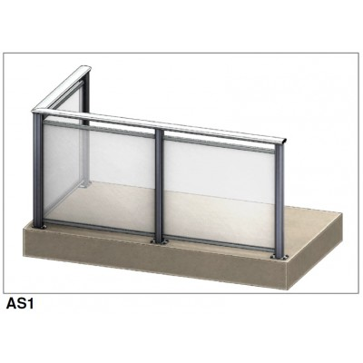 Aluflex Softline AS1 glassrekkverk. Pris fra 2.375,- inkl mva.