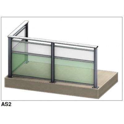 Aluflex Softline AS2 glassrekkverk. Pris fra 3.160,- inkl mva