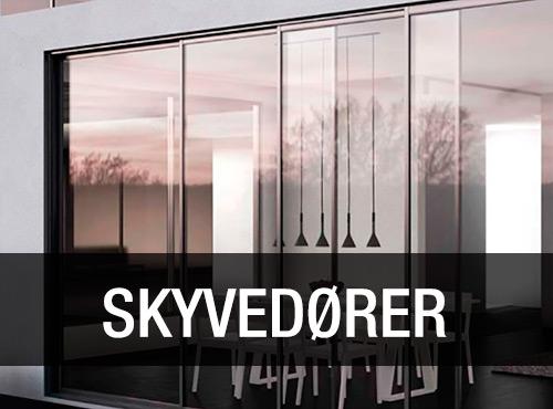 Vi har stort utvalg skyvedører i glass og aluminium.